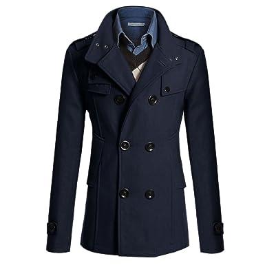 Lanmworn Hommes Hiver Manteau Revers Manteau Longue Coupe-vent Veste Trench- Coat, Automne 432b97242dd5