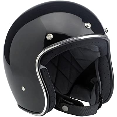 Biltwell Inc. Bonanza Gloss Black Open Face Helmet Medium: Automotive