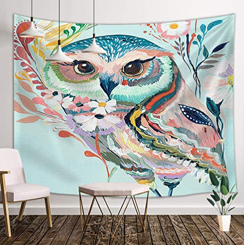 DYNH Cartoon Owl Tapestry Wall Hanging, Flowers and Wild Animals Owls 3D Oil Painting Printing, Hippie Wall Blanket Beach Towels Home Decor Polyester Fabric for Bedroom Living Room Dorm, 60X40 in (Owl Bedroom Decor For)