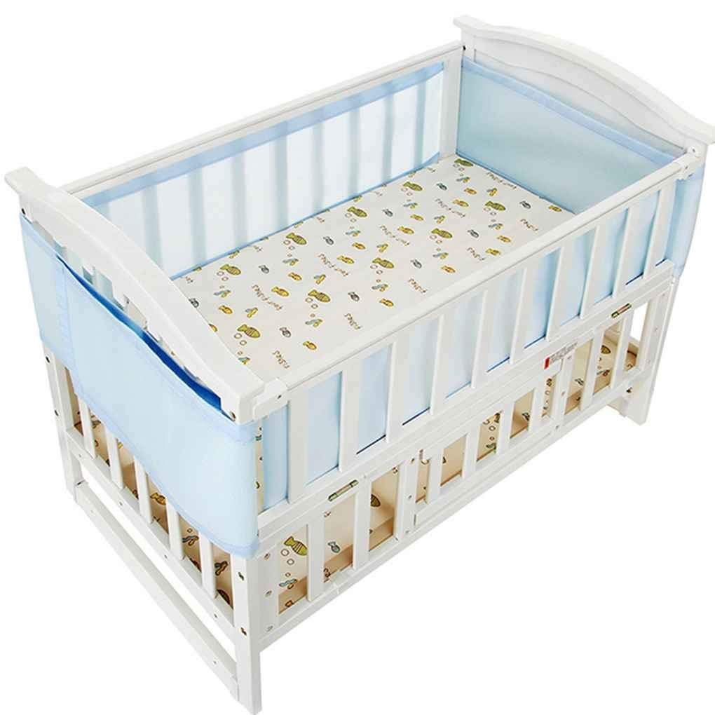 Mesh Crib Bumper Breathe Easy Air Safe 4 Sided Unisex Nursery Bumper Set for Machine Washable 2 Panels by MiaoMa, Blue