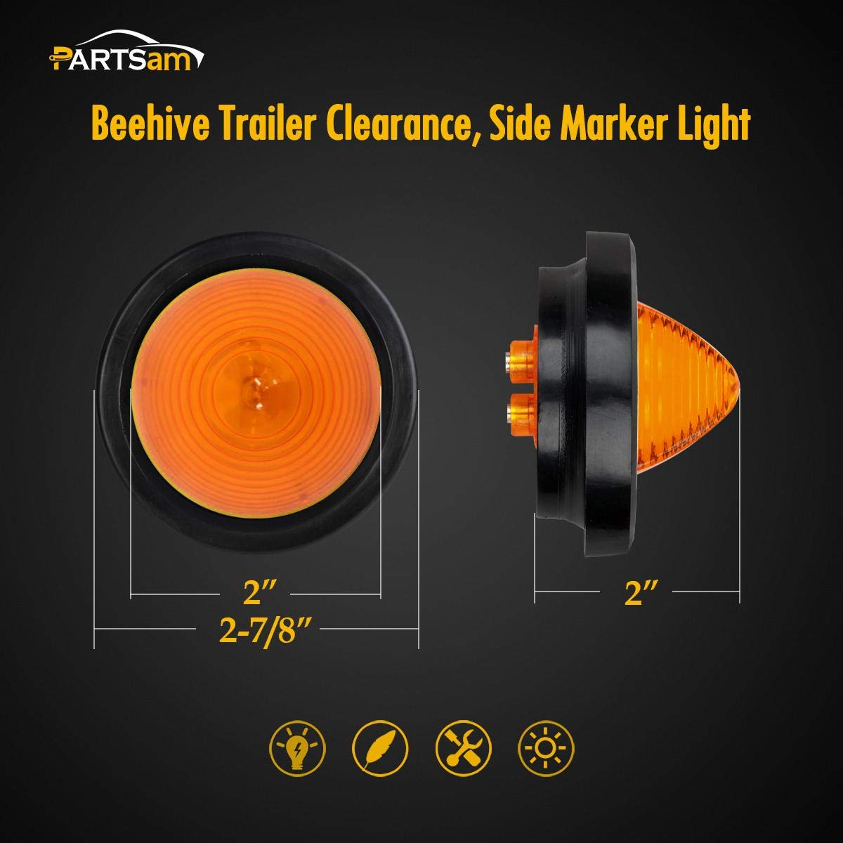 Partsam 5Pcs 2 Round Beehive Amber Led Side Marker Lights 9 Diodes Kit w//Rubber Grommet and Wire Plugs Universal for Motorcycle Truck Trailer RV