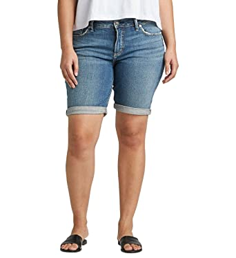 c45bbf3f Amazon.com: Silver Jeans Co. Women's Plus Size Elyse Mid-Rise Curvy Relaxed  Bermuda Short: Clothing