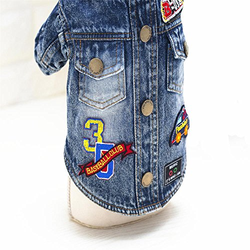 Ilistar Pet Dog Clothes Cat Blue Jean Denim Clothing Cute Puppy Coat Jacket Button Front Outfit (XXL (chest 48 cm)) by ilistar (Image #3)