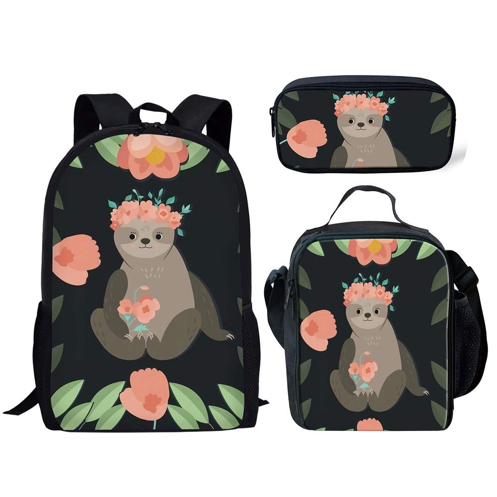 2fb5dc1dde61 FANCOSAN 3 Piece School Backpack Set for School Students Girls Boys Floral  Sloth Print Casual Dailypack Pencil Lunch Bags