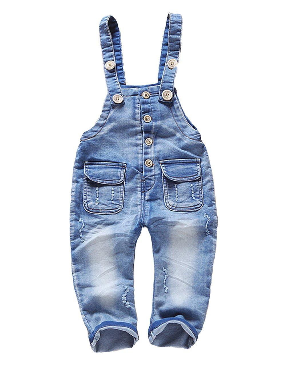 Kidscool Baby & Toddler Girls Denim Blue Cardigan Adjustable Jean Overalls