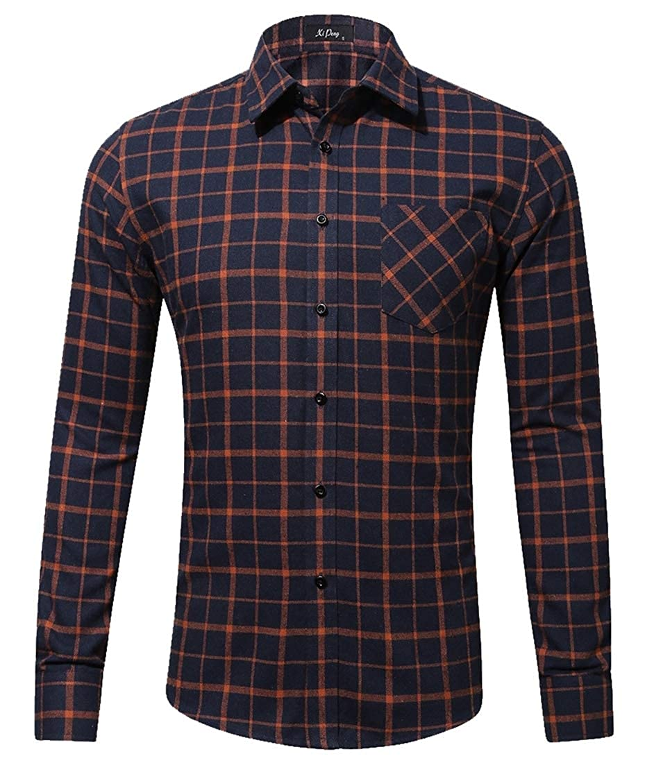 ouxiuli Mens Long Sleeve Casual Western Plaid Buttons Down Dress Shirt