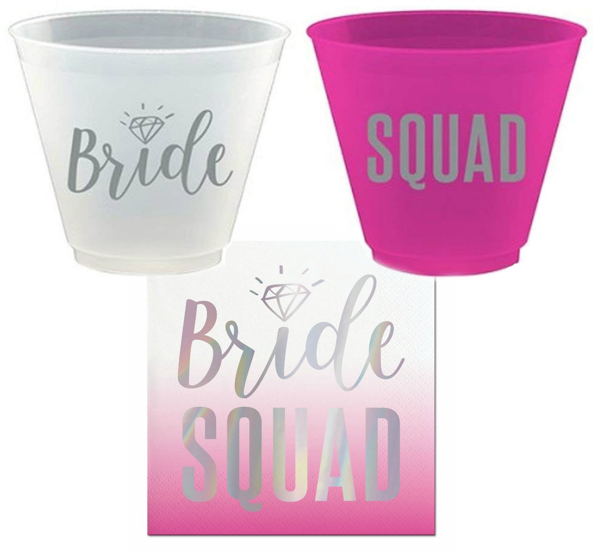 Bride Squad Bachelorette Party Cups and Napkins Set, Bachelorette Party Supplies for 8 by Joyous Occasions Collection