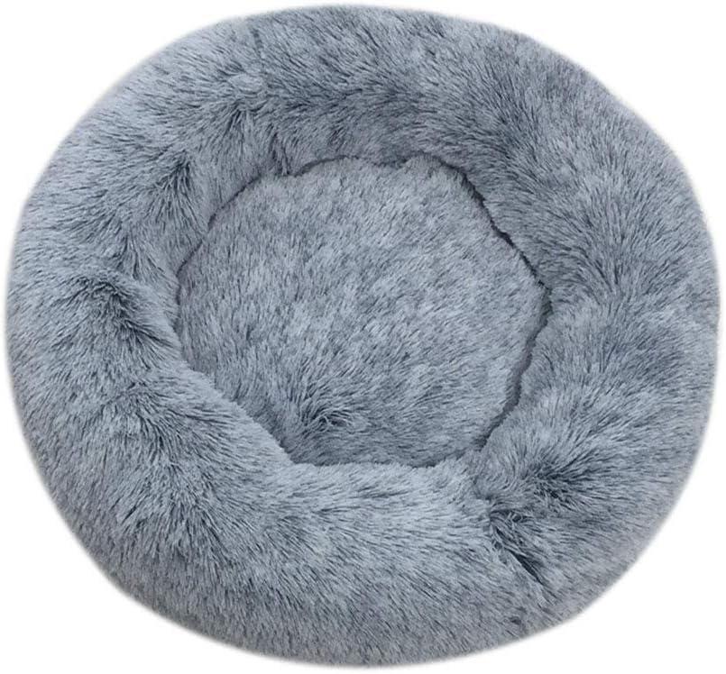 huangThroStore Cama calmante para Perros y Gatos, Cama de Felpa para Cachorros y Perros, Dark Gray, 50cm