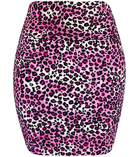 (KMystic Basic Mini Skirt With Wide Waist Band (Large, Leopard)
