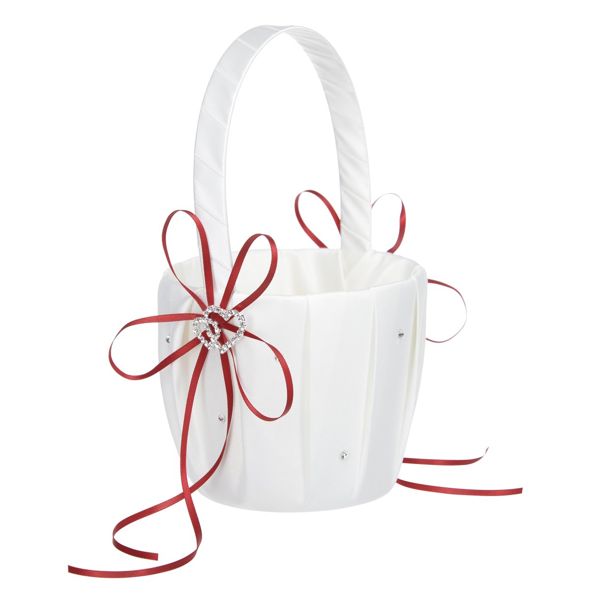 Remedios Ivory Satin Rhinestone 2 Hearts Wedding Flower Girl Basket, Red LWUKHL1604CP61