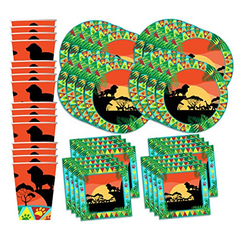 Sunset Safari Animals Birthday Party Supplies Set Plates Napkins Cups Kit for 16