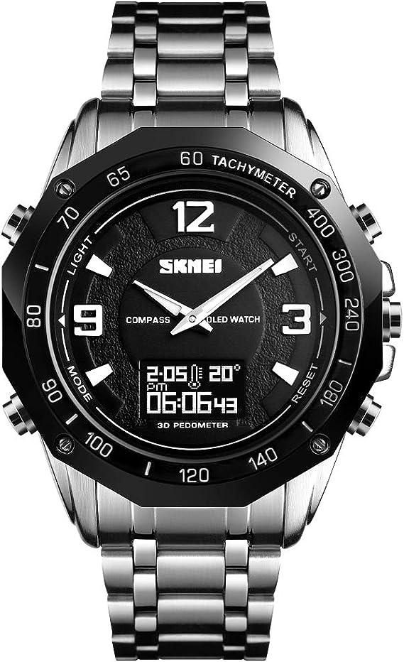 TONSHEN Fashion Acero Inoxidable Deportivo Reloj Brújula Digital ...
