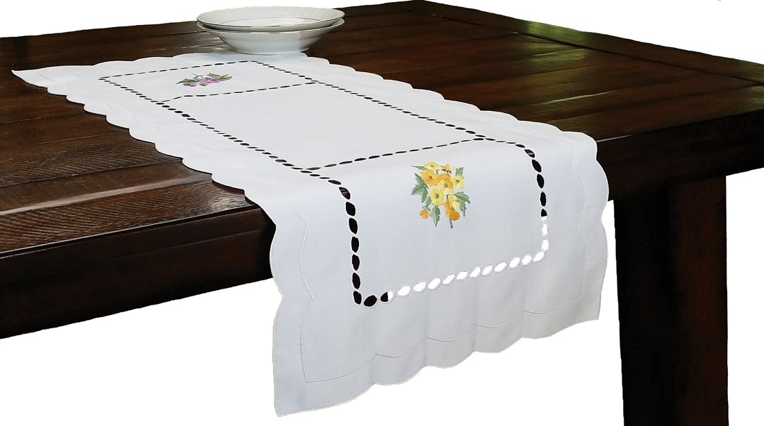 Xia Home Fashions Bouquet Embroidered Cutwork Spring Table Runner, 16 by 36-Inch by Xia Home Fashions