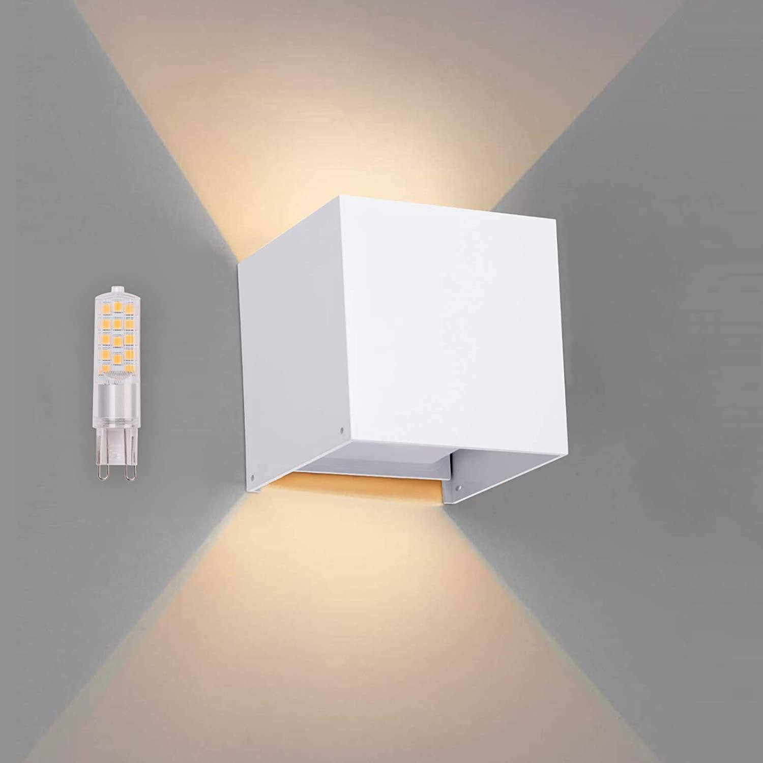 OOWOLF LED Wall Sconce Light, Waterproof IP65 G9 Replaceable Bulb Up and Down Square Wall Lamp Aluminum 3000K Warm White for Outdoor Entrance Living Room Bedroom Hallway Conservatory Room Decor