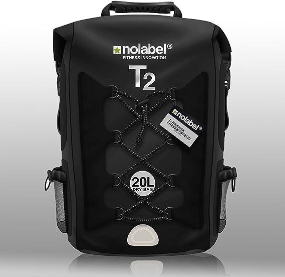 No Label Mochila Deportiva de 20L Impermeable - T2 Mochila para Ciclismo Running Triatlón y Deportes acuáticos. Protege del Polvo, la Arena, el Agua y la Suciedad Color Negro: Amazon.es: Deportes y