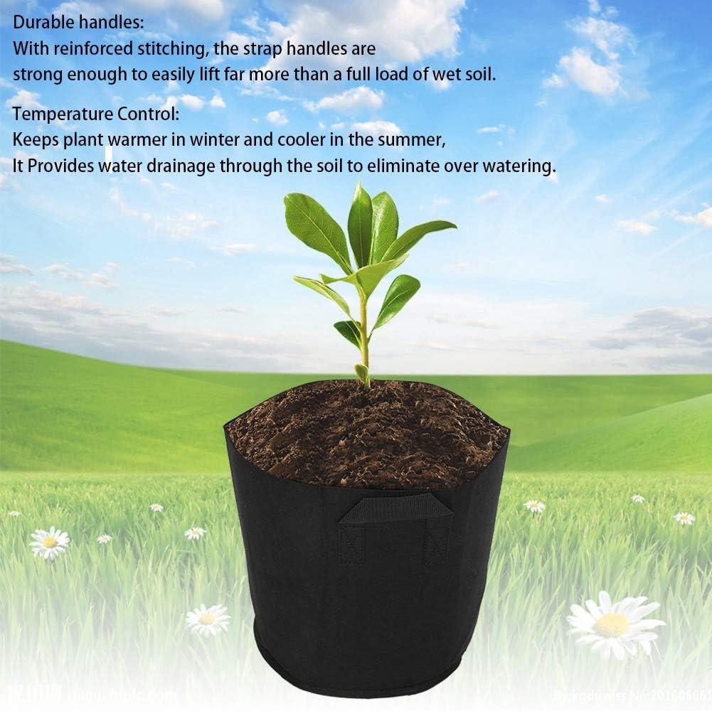 Dimensione 5 galloni Contenitore per Vasi per Piante da Coltivazione con Irrigazione Addensata da 5 Pezzi con Manici a Cinghia per Giardini DInfanzia