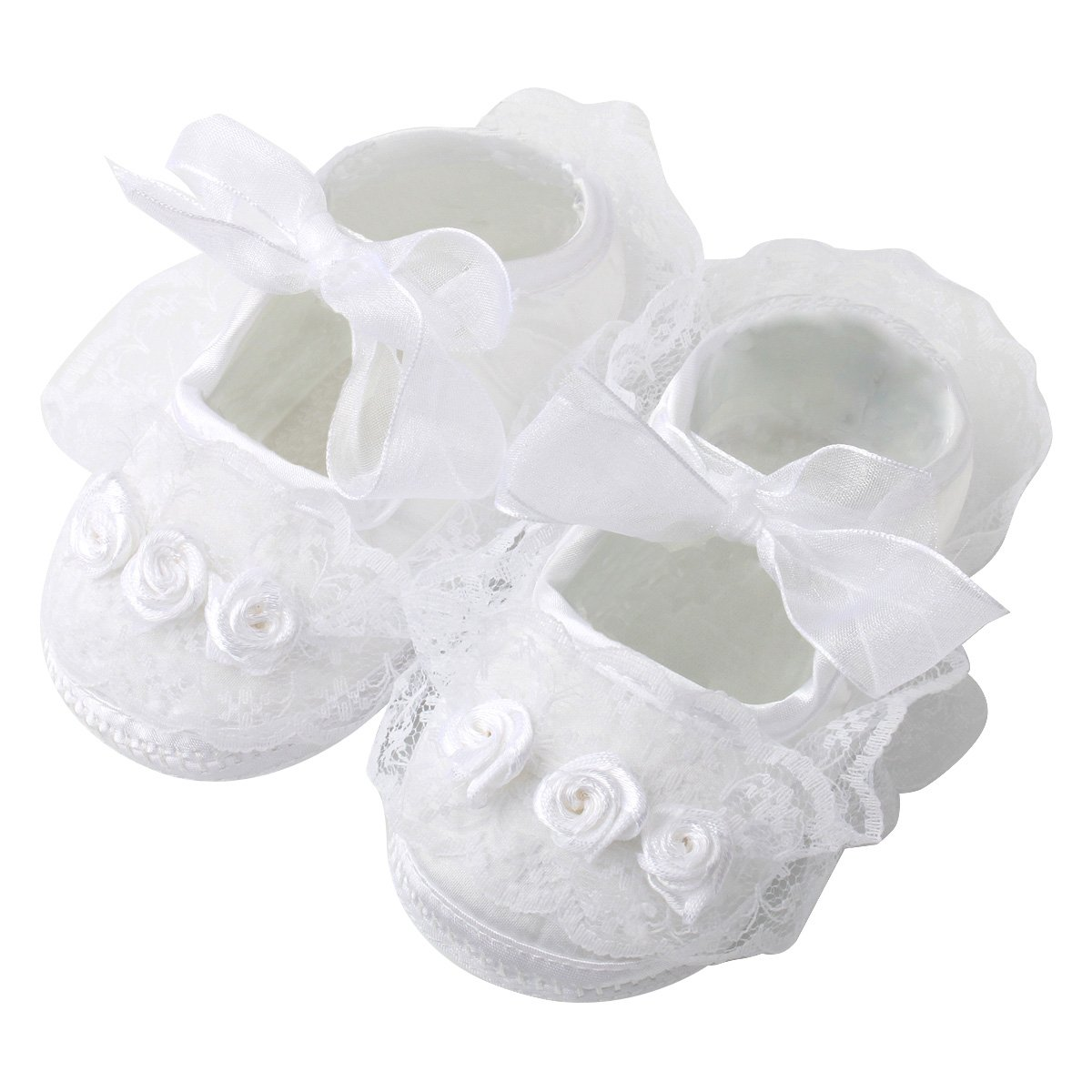 Slowera Baby Girls Soft Soled Princess Shoes (4.14 inch (0-6 Months), White(1 Pairs))