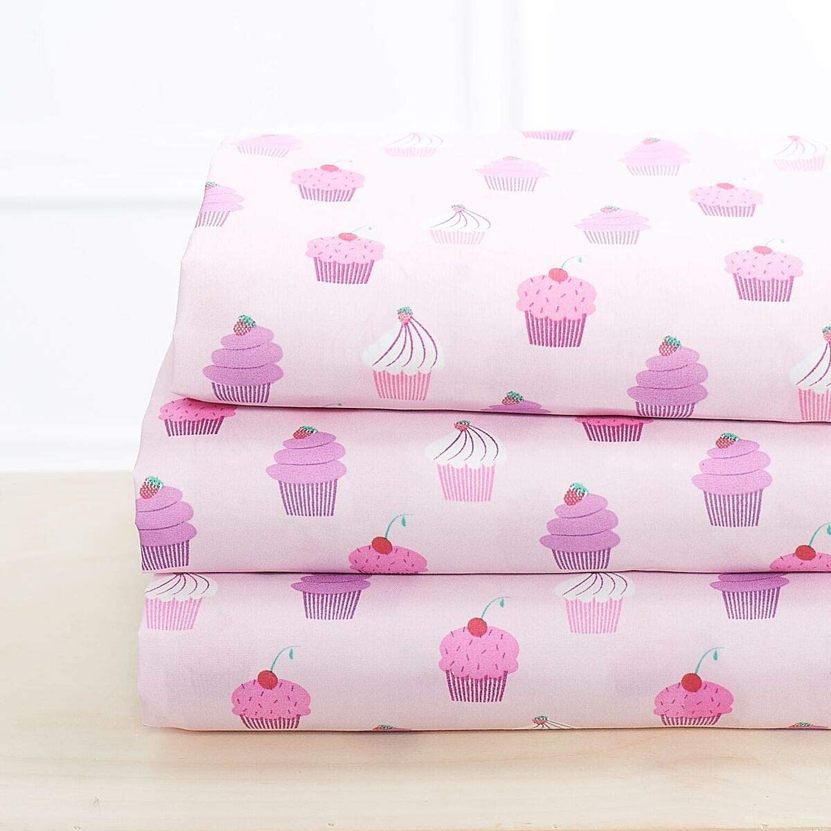 Elegant Home Multicolors Pink Purple Cupcakes Design 3 Piece Printed Sheet Set with Pillowcase Flat Fitted Sheet for Girls/Kids/Teens # Cupcake (Twin Size)