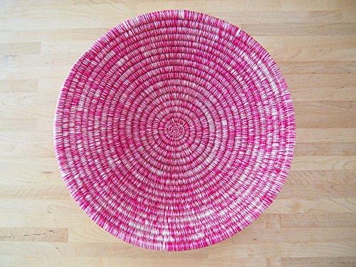 African Basket / Rwanda Basket / Woven Bowl / Sisal & Sweetgrass Basket / Hot Pink, White