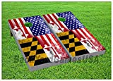Cornhole Beanbag Toss Game W Bags Game Boards American Maryland Flag Set 836
