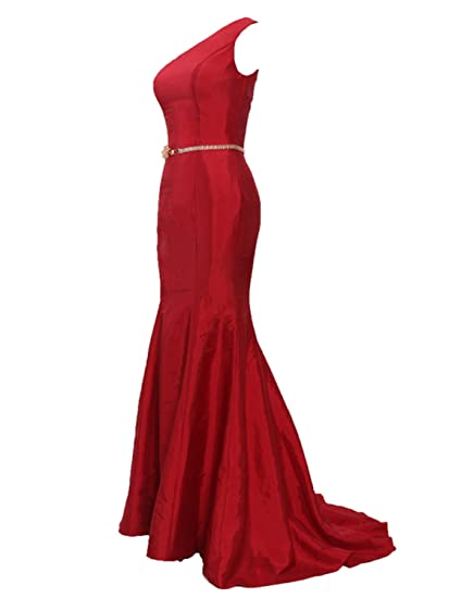 Stillluxury One Shoulder Long Evening Dress with Sash Mermaid Prom Dresses Formal Red Size 6