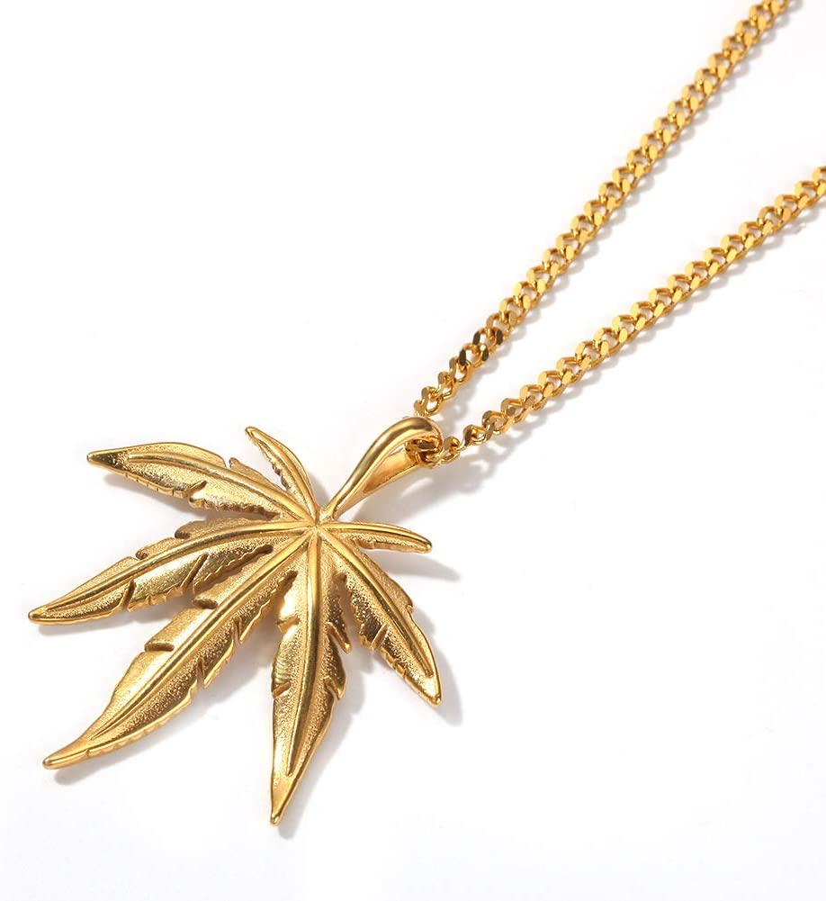 QXue Maple Leaf Mens Pendant Necklace Gold Chain Link Full Diamond