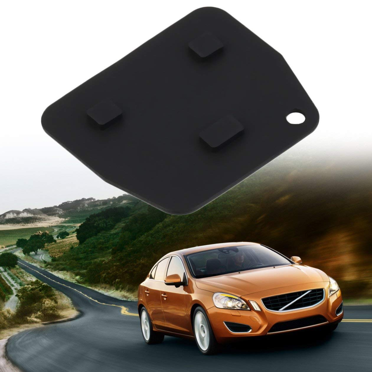 negro 1 unid Reemplazo de 3 botones de goma tecla remota almohadilla de empuje para Toyota Avensis Corolla para Lexus Rav4 3 bot/ón de llave remota