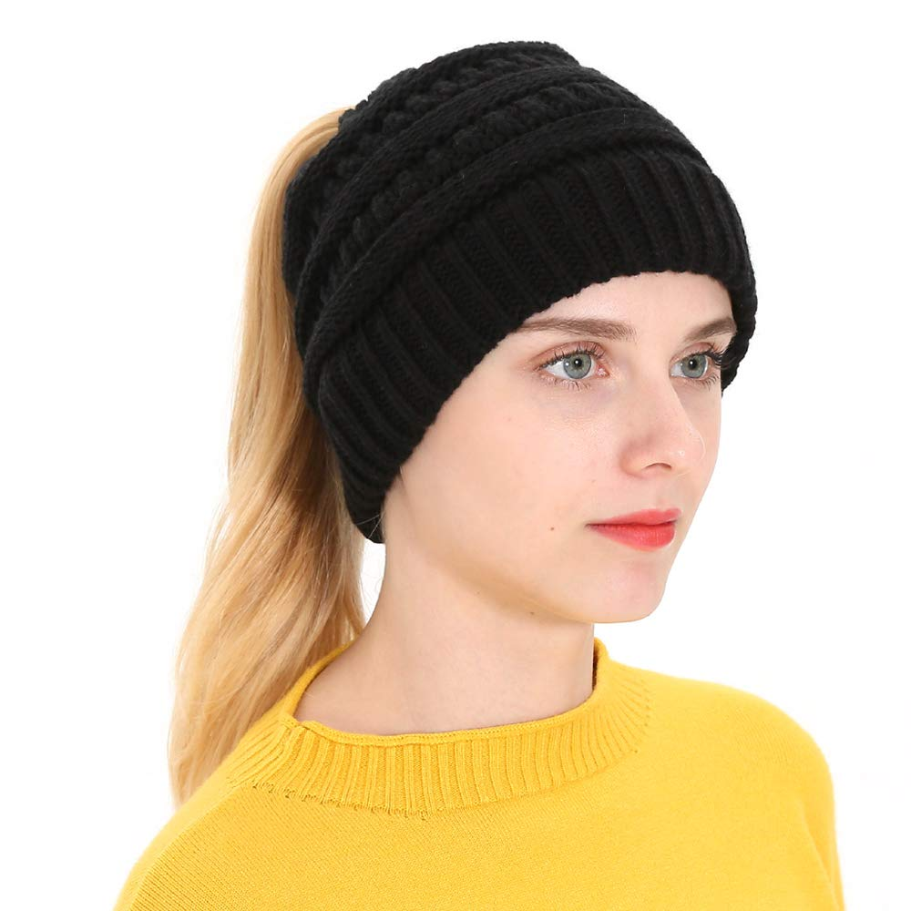 FSIGOM Womens Knit Ponytail Beanie Solid Ribbed Hats,Warm Messy Bun BeanieTail Horsetail Cap (B-Black)