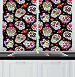 Cheap Ambesonne Sugar Skull Decor Kitchen Curtains, Festive Graveyard Mexico Ritual Figures Mask Design on Black Backdrop, Window Drapes 2 Panel Set for Kitchen Cafe, 55 W X 39 L Inches, Multicolor