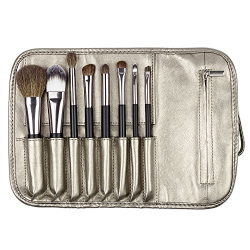 Brush Set 8-Piece Makeup Brushes with Travel Pouch Bag Including 5 Nature Goat Hairs and 3 Synthetic Fibers Make Up Brushes ()