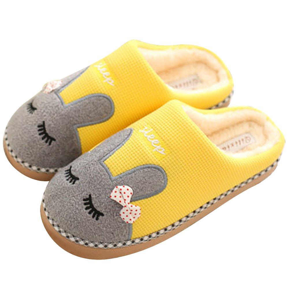 SAGUARO Inverno Pantofole Home Morbido Antiscivolo Cotone Scarpe Caldo Peluche Casa Pattini per Donne Uomini Giallo