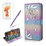 For iPhone X Flip Case,iPhone X Wallet Case Diamond,Girlyard Luxury Glitter Crystal Rhinstone [3D DIY Feather] Premium PU leather Magnetic Closure Flip Folio Stand Shockproof Full Protective Cover for iPhone X-Purple Rainbow