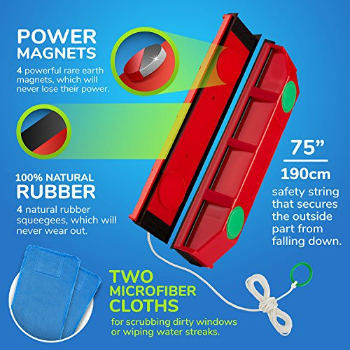 "Tyroler Bright Tools The Glider D-3, Magnetic Window Cleaner for Double Glazed Windows Fit to 0.8""-1.1"" Window thickness."