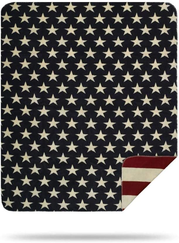 Denali Ultimate Comfort Patriotic Throw Blanket, Plush, Hand-Stitched, Super Cozy Blankets Made in The USA, Stars & Stripes