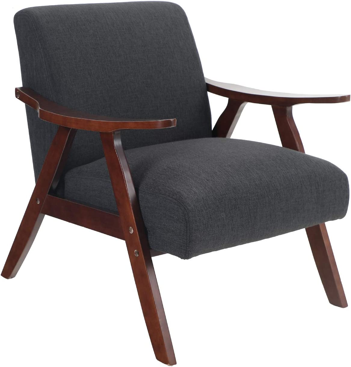 Sophia & William Accent Chair Mid-Century Living Room Chair Upholstered Padded Linen Armchair Modern Furniture with Solid Wood for Home Bedroom, Dark Grey