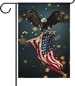 N\ A Garden Flag 28x40 Double Sided North American Bald Eagle with Flag Memorial Day 4 Th Julyoor Decorative House Yard Flags for Outside Outdoor Welcome Home Decor Banner Large Size 28 x 40 inches