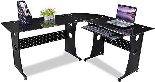 Beyondfashion diseño único cristal negro escritorio esquinero para ...