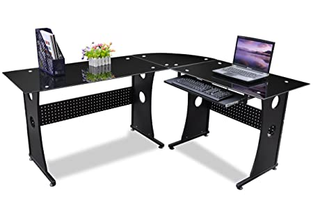 Popamazing Computer Corner Desk Home Office Study L Shaped Desk Reception Table Set Hall Table Office  sc 1 st  Amazon UK & Popamazing Computer Corner Desk Home Office Study L Shaped Desk ...