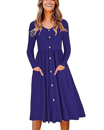 e26330e4b3 OUGES Women s Long Sleeve V Neck Button Down Midi Skater Dress with  Pockets(Blue