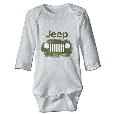 e3eecbae6 Amazon.com  Jeep Logo Long Sleeve Baby Onesies Bodysuit Baby Clothes ...
