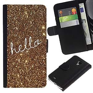 A-type (Text Gold Christmas Bling Glitter) Colorida Impresión Funda Cuero Monedero Caja Bolsa Cubierta Caja Piel Card Slots Para Samsung Galaxy S4 Mini i9190 (NOT S4)