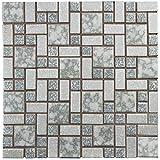 "SomerTile FKOUV473 Academy Porcelain Floor and Wall Tile, 11.75"" x 11.75"", Light Grey"