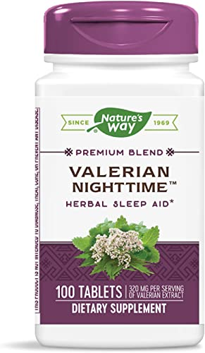 Nature's Way Valerian Nighttime Herbal Sleep Aid, 320 mg per'serving of Valerian Extract, 100 Tablets Packaging May Vary