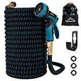 Gpeng Expandable Garden Hose - 25/50/100 Feet Strongest Triple Core Latex and Solid Brass Fittings with 9 Function Spray Nozzle 3/4 USA Standard Easy Storage Kink Free Flexible Water Hose
