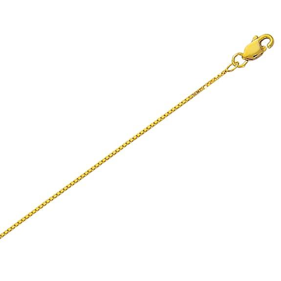 "10K yellow gold BOX CHAIN .6mm 14/""-24/"""