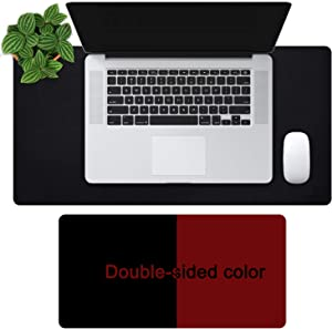 "OFFIDIX Office Desk Mat, 24""x12""Inches Non-Slip PU Leather Two Colors Desk Mouse Mat Dual-Sided Waterproof Desktop Pad Protector Gaming Writing Mat for Office and Home (Black&Wine Red, 24""x12"")"
