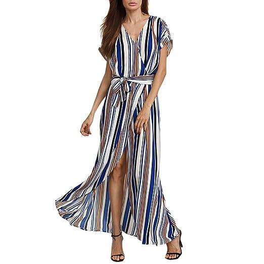 5063da4beb Muranba Beach Long Dress, Women Short Sleeve V-Neck Multicolor Stripe  Bandage Summer Beach