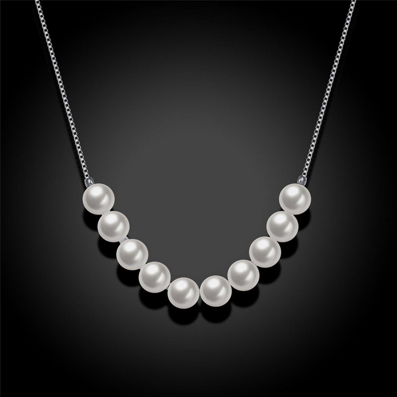 CS-DB Pendants Imitation Pearl Silver Necklaces