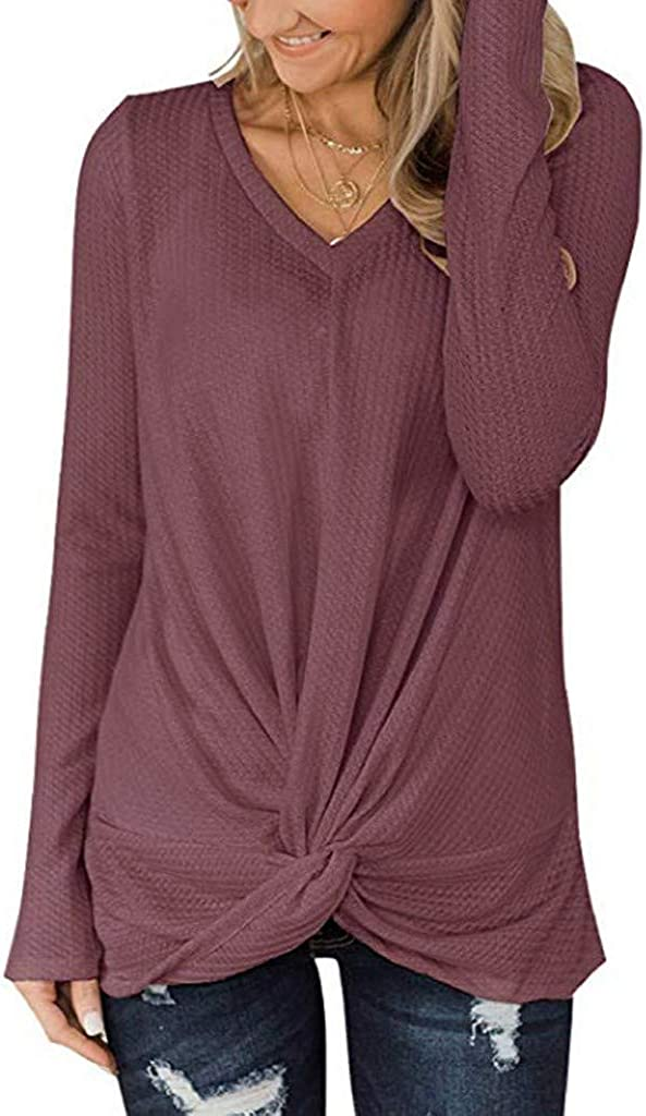 Gofodn Sweater for Women Pullover Sweatshirt Ladies Tops Plus Size Causal Solid V Neck Long Sleeve Blouse Shirts