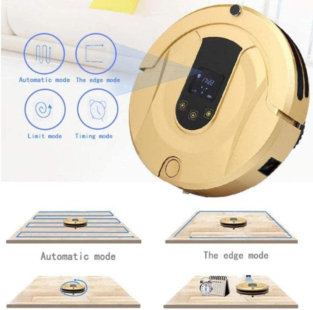 Robot Aspirateurautomatique Recharge Wifi App Télécommande Robotique Auto Boost Aspirateur Et Vadrouille Pour Tapis De Poils Pour Animaux De Compagnie Planchers Durs Rouge-Or Gold